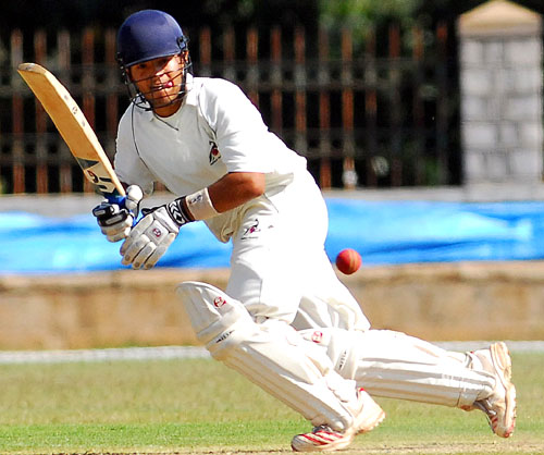Rajasthan's Robin Bist was on 62 at stumps