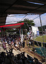 The corrugated-iron roof of a stand at Kandy falls off, Sri Lanka v England, 1st Test, Kandy, December 5, 2007