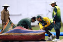 Younis Khan and Talat Ali, Pakistan's manager, take a look at the pitch, Bangalore, December 7, 2007