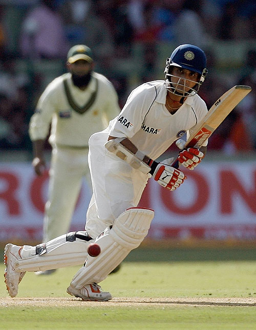 Sourav Ganguly worked his way to a 15th Test hundred, India v Pakistan, 3rd Test, Bangalore, 1st day, December 8, 2007
