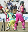 Chandigarh Lions batsman Tejinder Pal Singh is stumped by Chris Read