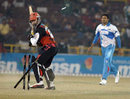 Lance Klusener was bowled by Shalabh Srivastava, Delhi Jets v Kolkata Tigers, 10th match, Indian Cricket League, Panchkula, December 8, 2007