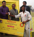 Sylhet's Golam Mabud receives the Man-of-the-Match award , Sylhet Division v Dhaka Division, Fatullah, December 8, 2007