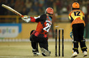 Darren Maddy is bowled while attempting a slog-sweep, Kolkata Tigers v Mumbai Champs, 13th match, Indian Cricket League, Panchkula, December 10, 2007