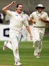 Lance Shaw celebrates a wicket, Auckland v Northern Districts, State Championship, Eden Park Outer Oval, December 12, 2007
