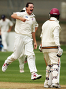 Lance Shaw celebrates James Marshalls' dismissal