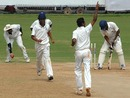Tamil Nadu's R Ramkumar celebrates one of his three wickets, Tamil Nadu v Himachal Pradesh, Ranji Trophy Super League, Group A, 5th round, Chennai, 4th day, December 12, 2007