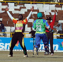 Mumbai Champs' Ranjit Khirid is jubilant after taking Shashank Nag's wicket, Hyderabad Heroes v Mumbai Champs, Indian Cricket League, Panchkula, December 15, 2007
