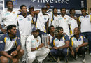 The Sri Lankan side celebrate after their series win