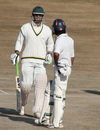 Mukesh Sharma talks to his team-mate after completing his century, Himachal Pradesh v Rajashtan, Ranji Tropy Super League, Group A, 7th round, 1st day, Dharamsala, December 25, 2007