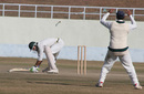 Mukesh Sharma gets into an awkward position after missing a cut shot, Himachal Pradesh v Rajashtan, Ranji Tropy Super League, Group A, 7th round, 1st day, Dharamsala, December 25, 2007