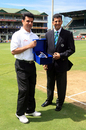 Aleem Dar receives a memento from Roshan Mahanama for having officiated in 100 ODIs, South Africa v West Indies, 1st Test, Port Elizabeth, 1st day, December 26, 2007