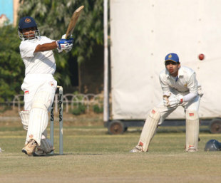 Gujarat's Timil Patel powers the ball through the leg side, Gujarat v Madhya Pradesh, Ranji Trophy Plate League, 1st semi-final, 3rd day, Karnail Singh Stadium, Delhi, December 27, 2007