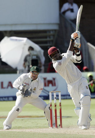 Marlon Samuels hammers the ball down the ground, South Africa v West Indies, 1st Test, Port Elizabeth, 3rd day, December 28, 2007