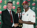 Marlon Samuels accepts his Man-of-the-Match award, South Africa v West Indies, 1st Test, Port Elizabeth, 4th day, December 29, 2007