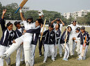 Dhaka celebrate after clinching the title of the inaugural Meril Women's Divisional Cricket League, beating Chittagong by 8 wickets