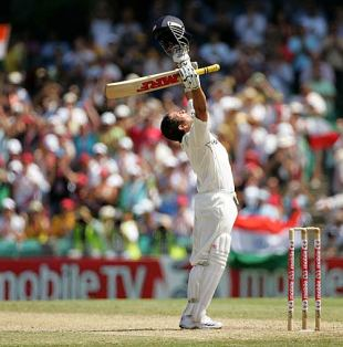 Sachin Tendulkar celebrates his 38th Test century, Australia v India, 2nd Test, Sydney, 3rd day, January 4, 2008