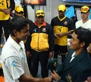 Sajidul Islam receives his Test cap from Mohammad Ashraful