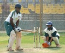 Baroda's Connor Williams has a hit in the nets, Indore, January 4, 2008