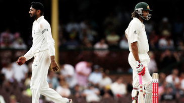 Harbhajan Singh and Andrew Symonds had a quieter day after their third-day confrontation