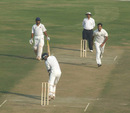 Amit Bhandari in his follow through, Baroda v Delhi, 1st semi-final, Ranji Trophy Super League, Indore, 1st day, January 5, 2008