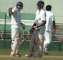 Rakesh Solanki raises the bat after his fifty, Baroda v Delhi, semi-final, Ranji Trophy Super League, Indore, 3rd day, January 7, 2008