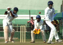Shatrunjay Gaekwad plays one through the off side, Baroda v Delhi, semi-final, Ranji Trophy Super League, Indore, 3rd day, January 7, 2008