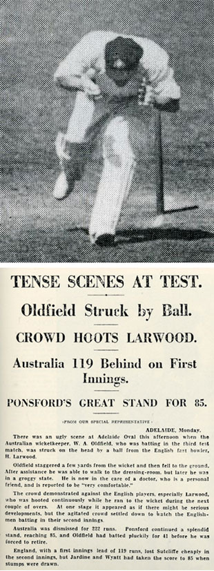 Bert Oldfield reels away after being struck on the head by Harold Larwood (top), and the media reaction to one of Test cricket's darkest days