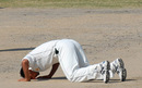 Samiullah Khan savours his five-wicket haul, Patron's XI v Zimbabweans, Karachi, 4th day, January 17, 2008