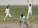 Naumanullah and Afaq Raheem make an unsuccessful lbw appeal against Timycen Maruma, Patron's XI v Zimbabweans, Karachi, 4th day, January 17, 2008