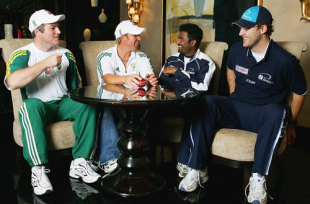 Stuart MacGill, Shane Warne, Muttiah Muralitharan and Daniel Vettori at a press conference before the Super Series, October 2005