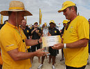 Martin Crowe accepts the winners' cheque for New Zealand in their first year of beach cricket, XXXX Gold tournament, Brisbane, January 20, 2007