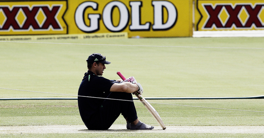 Matt the Bat - Matthew Hayden concentrates on the pitch ahead of the fourth Test , Adelaide, January 23, 2008
