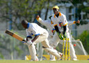 Carlo Morris is deceived by the flight of left-arm spinner Kavesh Kantasingh,  Combined Campuses and Colleges v Barbados, Carib Beer Series, 3rd round, Three W's Oval, Barbados, 4th day, January 20, 2008