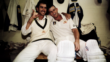 Justin Langer and Adam Gilchrist bask in a memorable victory