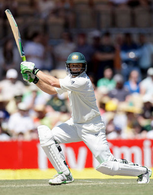 Adam Gilchrist plays a trademark shot in his last Test, Australia v India, 4th Test, Adelaide, 4th day, January 27, 2008