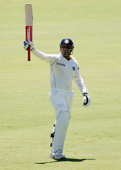 Virender Sehwag scored his first century of the series, Australia v India, 4th Test, Adelaide, 5th day, January 28, 2008