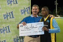 Man-of-the-Match Cletus Mathurin receives his US$25,000 prize money from Allen Stanford, Cayman Islands v St Lucia, 2nd match, Stanford 20/20, Antigua, January 26, 2008