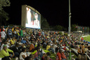 A giant screen relays the on-field action at the Stanford Cricket Ground, Cayman Islands v St Lucia, 2nd match, Stanford 20/20, Antigua, January 26, 2008
