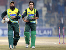Mohammad Yousuf and Fawad Alam leave the field after Pakistan chased 245, Pakistan v Zimbabwe, 4th ODI, Mobilink Cup, Faisalabad, January 30, 2008