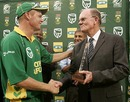 Shaun Pollock receives a memento from his father Peter during his final ODI appearance at home ground Kingsmead, South Africa v West Indies, 4th ODI, Durban, February 1, 2008