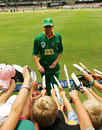 Shaun Pollock signs autographs during his final international appearance
