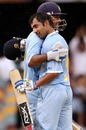 Gautam Gambhir is congratulated on his hundred