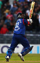 Dimitri Mascarenhas uppercuts his first ball for six, New Zealand v England, 2nd Twenty20, Christchurch, February 7, 2008