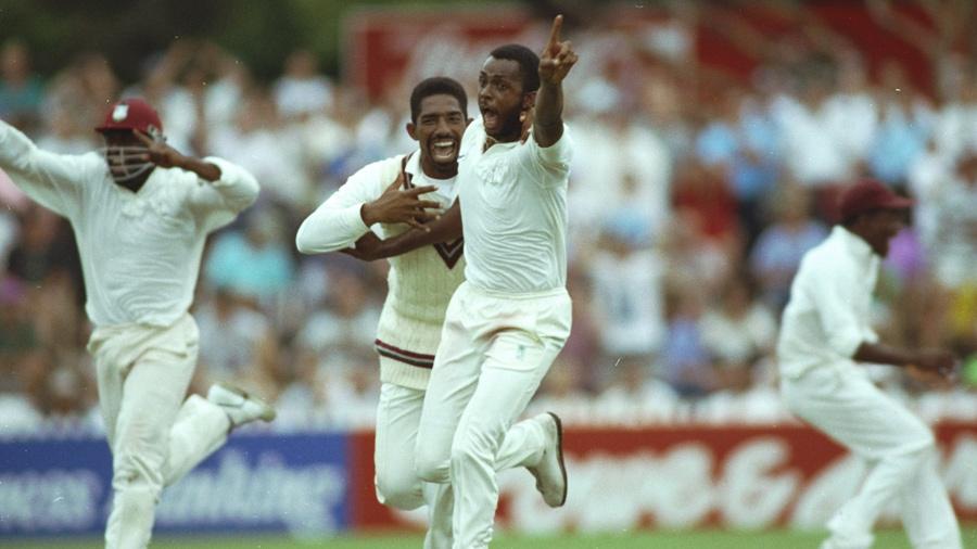 Courtney Walsh celebrates Craig McDermott's wicket