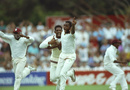 Courtney Walsh celebrates Craig McDermott's wicket, which won West Indies the fourth Test and kept them alive in the series, Australia v West Indies, January 26 1993, Adelaide