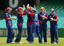 Rosalie Birch is congratulated for dismissing Shelley Nitschke, Australia v England, 5th Women's ODI, Sydney, February 11, 2008