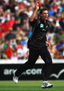 Michael Mason traps Kevin Pietersen lbw for 29, New Zealand v England, 2nd ODI, Hamilton, February 12, 2008