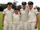 Emma Sampson, Leonie Coleman, Ellyse Perry and Kirsten Pike pose after receiving their caps , Australia v England, only Test, Bowral, February 15, 2008