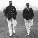 Gustavus Fowke and Herbie Taylor return after a pitch inspection as South Africa's tour gets off to a damp start, Leicestershire v South Africans, Leicester, May 3, 1924